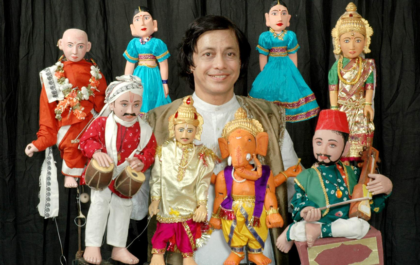 Puppeteer Ramdas Padhye with Indian Traditional Puppets of Dramatist Vishnudas Bhave